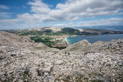 Karst hills around Baska, Island of Krk, Croatia stock photos