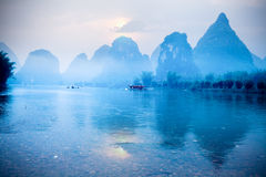 Karst hills scenery at sunrise Stock Images