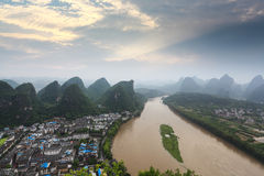 Karst landform and lijiang river at sunrise Stock Photo