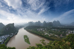 Karst landform under blue sky in yangshuo Stock Photo