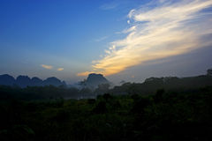 Karst Landforms sunrise view Royalty Free Stock Photo