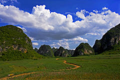 Karst Landforms view. In Guangxi,china Royalty Free Stock Photography