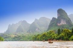 Karst landscape by Li river in Yangshuo royalty free stock image