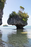 Karst limestone shore rocks in Thailand Royalty Free Stock Photography