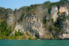 Karst limestone structure of tropical island with forest. Pranan Royalty Free Stock Photos