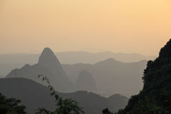 Karst mountain landscape at dusk Royalty Free Stock Photography