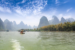 Karst mountain landscape in lijiang river Royalty Free Stock Images