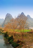 Karst mountain landscape in Yangshuo Guilin, Royalty Free Stock Image