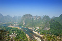 Karst mountain landscape in Yangshuo Guilin, Royalty Free Stock Photography