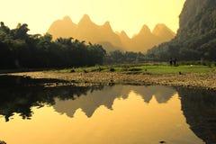 Karst mountain landscape in Yangshuo Guilin, Stock Photo