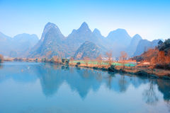 Karst mountain landscape in Yangshuo Guilin, Stock Photo