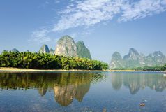 Karst mountain landscape in Yangshuo Guilin, Royalty Free Stock Photo