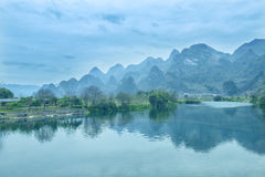 Karst mountain landscape in Yangshuo Guilin, Stock Photos