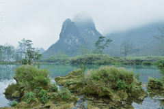 Karst mountain landscape in Yangshuo Guilin, Royalty Free Stock Images