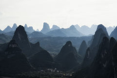 The karst mountain tops Stock Images