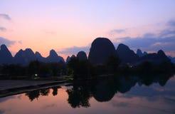 Karst mountain and Yulong river landscape Yangshou China Royalty Free Stock Photos