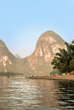 Karst mountains along the Li river near Yangshuo, Guangxi provin Stock Photos