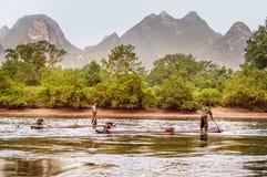 Karst mountains along the Li river near Yangshuo, Guangxi provin Stock Photo