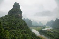 Karst mountains around Li river from Tangjiao nunnery. Guangxi province, China stock images