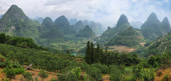 Karst mountains around Yangshuo Royalty Free Stock Photo