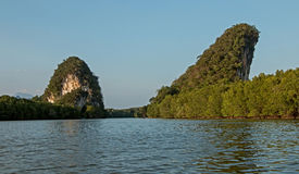 Karst mountains, Krabi,Thailand. Limestone karst mountain and green mangrove landscape in Krabi, Krabi Province,Thailand Stock Images