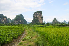 Karst mountains landscape in southern china Royalty Free Stock Image