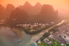 Karst mountains and Li river Stock Image