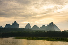 Karst mountains at li river china Stock Image