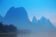 Karst mountains at Li river near Yangshuo Royalty Free Stock Photos