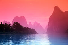 Karst mountains at Li river near Yangshuo Royalty Free Stock Image