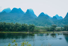 Karst mountains and Lijiang River scenery Royalty Free Stock Image