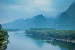 Karst mountains and Lijiang River scenery Stock Images