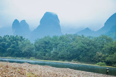 Karst mountains and Lijiang River scenery Royalty Free Stock Photography