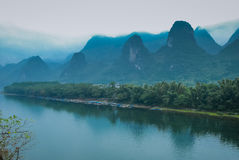Karst mountains and Lijiang River scenery Stock Photo