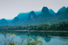 Karst mountains and Lijiang River scenery Royalty Free Stock Photos
