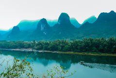 Karst mountains and Lijiang River scenery Royalty Free Stock Images