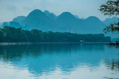 Karst mountains and Lijiang River scenery Stock Photography