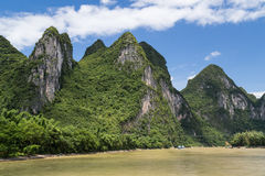 Karst mountains and limestone peaks of Li river in   China Stock Image