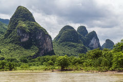 Karst mountains and limestone peaks of Li river in   China Royalty Free Stock Images