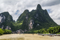 Karst mountains and limestone peaks of Li river in   China Stock Images