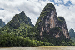 Karst mountains and limestone peaks of Li river in   China Royalty Free Stock Photos
