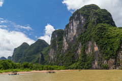 Karst mountains and limestone peaks of Li river in   China Royalty Free Stock Image