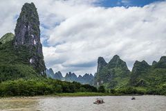 Karst mountains and limestone peaks of Li river in   China Royalty Free Stock Photo