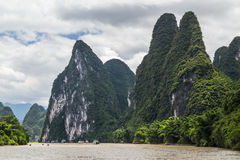 Karst mountains and limestone peaks of Li river in   China Stock Photography