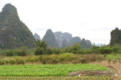 Karst mountains between Yangshuo and Guilin, China Stock Photography