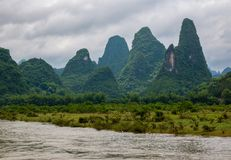 Karst peaks in Xingping Town and the Li River known as Lijiang River. stock images