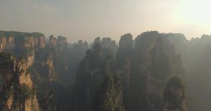 Karst Pillars at Wulingyuan National Park in Zhangjiajie stock video footage