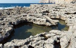 Karst rockpools on the island of Gozo Stock Photo