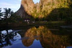 Karst rotsmuur in Ramang -ramang royalty-vrije stock afbeeldingen
