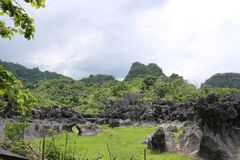 Karst Stone. PANGKEP, INDONESIA - November 11, 2017 : Beautiful place of karst Stone in Balocci, Pangkep stock images